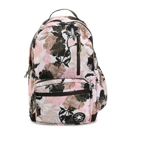 af96f6641074b1 Converse Pink Floral   Olive Green Backpack Bag
